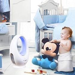 DINEGG Bladeless Fan, Table Natural Wind Baby Bladeless Fan, Oscillating Fan Alternate Between 16 Colors Decorative LED Light, Remote Control, Sleep Timer, White