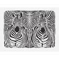 """Ambesonne Zebra Print Bath Mat, Illustration Pattern Zebras Skins Background Blended Over Zebra Body Heads, Plush Bathroom Decor Mat with Non Slip Backing, 29.5"""" X 17.5"""", Black White"""