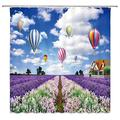 XZMAN Lavender Shower Curtain Summer Purple Lavender Garden Hot Air Balloon Blue Sky White Cloud Rustic Floral Rural Plant Nature Bathroom Decor Set Quick Drying Polyester Fabric 70 Inches with Hooks