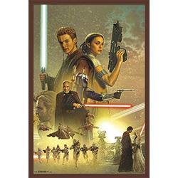"Trends International Star Wars: Attack of The Clones - Celebration Mural Wall Poster, 22.375"" x 34"", Mahogany Framed Version"