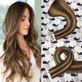 HIKYUU 16 Inches 20pcs/30g Remy Real Hair Highlighted Tape in Hair Extensions Human Hair Chocolate Brown Highlights Extensions #4 Highlights with #27 100% Real Human Hair