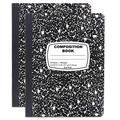 Emraw Black & White Composition Book of Quad Ruled Marble Style Cover (100 Sheets Per Pack) (Pack of 6)