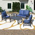 PatioFestival 5 PCS Outdoor Padded Conversation Set w/Loveseat,2 Chairs,Coffee Table,Side Table,Patio Metal Extra Wide Deep Seating Sofa Chairs (5 PCS, Blue)