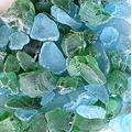 WeJe Glass Gems Sea Glass Chunks for Home Decor Art Craft Vase Filler Aquarium Gravel (2.5 LB Mixed Frosted Green & Turquoise)