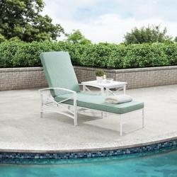 Kaplan Chaise Lounge Chair In White With Mist Cushion Cover - Crosley KO60018WH-MI