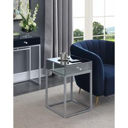 Reflections End Table in Mirror/Silver - Convenience Concepts 413945MRSS