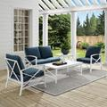 Kaplan 5-Piece Outdoor Seating Set In White With Navy Cushions- Two Arm Chairs, Loveseat, Coffee Table, Side Table - Crosley KO60015WH-NV