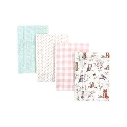 Hudson Baby Girls' Burpcloths Enchanted - Ivory & Brown Enchanted Forest Layered Flannel Burp Cloth Set