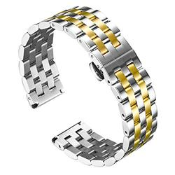 BINLUN Stainless Steel Watch Bands with Straight & Curved End - Replacement Watch Straps in Gold, Rose-Gold, Black, Silver, Silver-Gold, Silver-Rose, Silver-Black