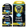 Pack Wilkinson Sword Hydro 5 Sense Energize + 8 Recambios de Cuchillas de Afeitar, Menta Energizante - Maquina de afeitar de 5 cuchillas con amortiguador Shock Absorb