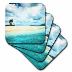 3dRose Ceramic Tile Coasters - Sandy Spit shows a small Caribbean sand bar island located near Jost Van Dyke - set of 4 (cst_19441_3) Ceramic