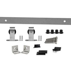 Flat Track by Leatherneck Hardware 407 Top Mount Premium Single Track Sliding Barn Door Hardware Kit in Gray, Size 2.0 H x 60.0 W x 2.44 D in