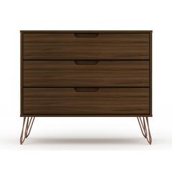 Rockefeller Mid Century- Modern Dresser with 3- Drawers in Brown - Manhattan Comfort 103GMC5