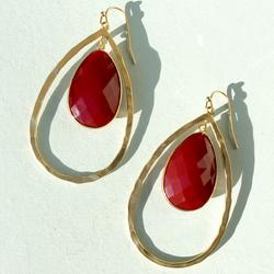 Anthropologie Jewelry | Anthropologie Tunisia Red Stone Earrings New | Color: Gold/Red | Size: 2.5