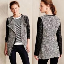 Anthropologie Jackets & Coats   Cartonnier Tweed Asymmetric Zip Vegan Leather Coat   Color: Black/White   Size: M