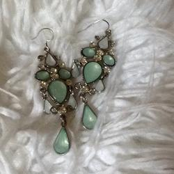 Kate Spade Accessories   Kate Spade Drop Earrings   Color: Green/Silver   Size: Os