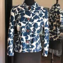 J. Crew Jackets & Coats | 100% Linen Blue White Jacket | Color: Blue/White | Size: 12