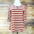 Anthropologie Tops | Anthropologie Postmark Red Floral Striped Henley | Color: Cream/Red | Size: M