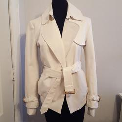 Burberry Jackets & Coats | Burberry White Coat- Size 6 | Color: White | Size: 6