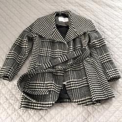 Jessica Simpson Jackets & Coats | Jessica Simpson Asymmetrical Zip Houndstooth Coat | Color: Black/White | Size: L