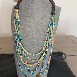 Anthropologie Jewelry   Anthropologie Wood Beaded Necklace   Color: Blue/Brown   Size: Os