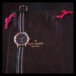 Kate Spade Jewelry | Cute Leather Scallop Kate Space Watch, Euc | Color: Black/White | Size: Os