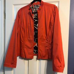 Nine West Jackets & Coats   Euc Coral Nine West Jacket Size L   Color: Black/Orange   Size: L