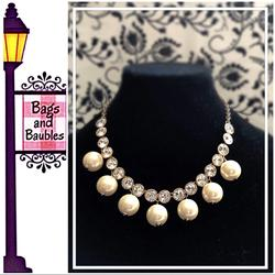 Kate Spade Jewelry   Kate Spade Crystal And Bead Collar Necklace Nwt   Color: Cream/Gold   Size: Os