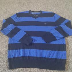 American Eagle Outfitters Sweaters | American Eagle Outfitters Striped Sweater | Color: Blue | Size: Xl