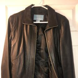 Nine West Jackets & Coats | Nine West Leather Jacket Euc Medium | Color: Black | Size: M