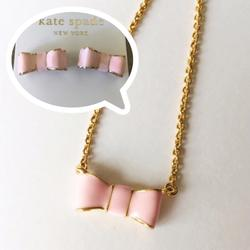 Kate Spade Jewelry   Kate Spade Baby Pink Bow Necklace And Earrings   Color: Pink   Size: Os
