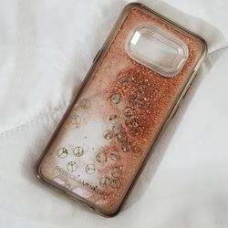 Rebecca Minkoff Accessories   Rosegold Glitter Peace   Color: Gray/Pink   Size: Samsung Galaxy S8+