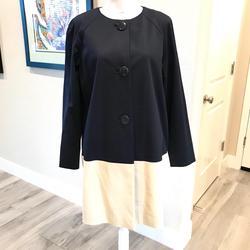 Kate Spade Jackets & Coats | Kate Spade Color Block Navy&Cream Jacket - Nwt | Color: Blue/Cream | Size: L