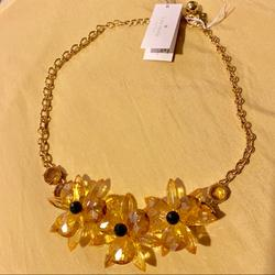 Kate Spade Accessories   New Kate Spade Crystal Flower Necklace   Color: Gold   Size: Os
