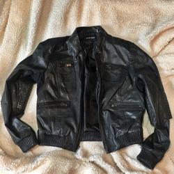 Nine West Jackets & Coats | Nine West Black Leather Jacket | Color: Black | Size: M