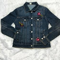 J. Crew Jackets & Coats   Adorable J.Crew Floral Embroidered Jean Jacket   Color: Blue/Red   Size: S