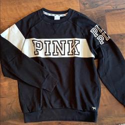 Pink Victoria's Secret Sweaters   Pink Victorias Secret Colorblock Sweatshirt   Color: Black/White   Size: Xs