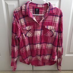 American Eagle Outfitters Tops | Ae Pink Plaid Ls Shirt | Color: Pink | Size: Xl