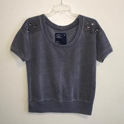American Eagle Outfitters Tops | Aeo Short Sleeve Sweatshirt Size Small | Color: Gray | Size: S