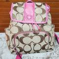 Coach Bags   Authentic Pink Coach Canvas Backpack   Color: Pink/Tan   Size: Os
