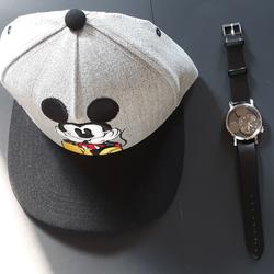 Disney Other | Mickey Mouse Watch & Snapback Hat Combo Set | Color: Black | Size: Os