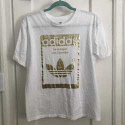 Adidas Shirts & Tops | Adidas T-Shirt Youth Kids Boys Girls Sz Xl | Color: Gold/White | Size: Youth Xl