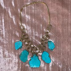 Anthropologie Jewelry | Anthropology Gold Turquoise Stone Necklace | Color: Blue/Gold | Size: Os