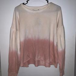 American Eagle Outfitters Tops | American Eagle Dip Dyed Balloon Sleeve Sweatshirt | Color: Cream/Pink | Size: L