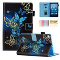 Fire HD 8 Case, Casii Soft PU Leather Folio Stand Cover with Card Holders [Auto Sleep/Wake] for All-New Amazon Fire HD 8 (5th/6th/7th/8th Gen, 2015/2016/2017/2018 Release), Blue Golden Butterflies