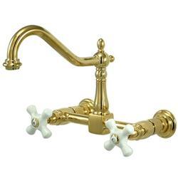 Kingston Brass Duchess Double Handle Centerset Wall Mounted Bridge Faucet in White/Yellow   Wayfair KS1242PX