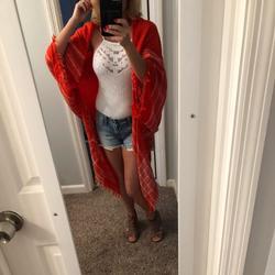 Free People Other | Free People Kimono Orange & White | Color: Orange/White | Size: Osfa