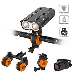 Acsin Bike Light Front and Rear Super Bright, Bicycle Headlight & Tail Light Set 2400 Lumen 4 Lighting Modes IP65 Waterproof Rechargeable 18650 Built-in Battery Double Bracket Quick-Release