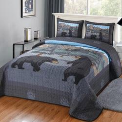 "Millwood Pines Edsall Quilt Set in Black/Blue/Gray, Size 90"" W x 90"" L   Wayfair 62197792F8AB4ABB9796D85D93FFD956"