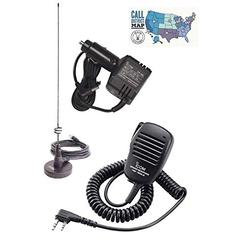 Icom ID-51A PLUS2 Accessory Bundle - 4 Items - Includes Icom Compact Speaker-Mic, Filtered Cigarette Lighter Adapter, Diamond Mag-Mount Antenna and Ham Guides TM Quick Reference Card